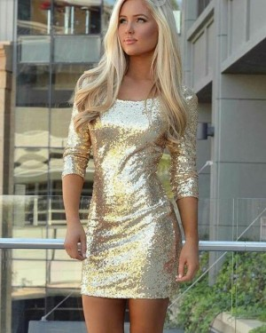 Scoop Gold Sequined Sheath Club Dress with 3/4 Length Sleeves HD3182