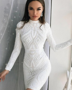High Neck White Lace Tight Club Dress with Long Sleeves HD3184