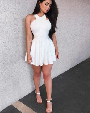 Halter Satin White Pleated Simple Homecoming Dress HD3195