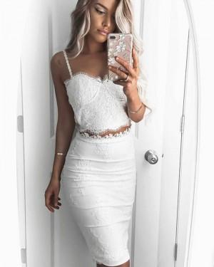 Two Piece Square Neckline Knee Length White Graduation Dress HD3199
