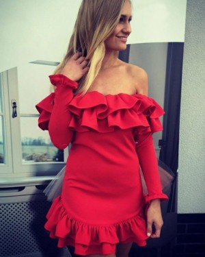 Off the Shoulder Red Long Sleeve Sheath Party Dress HD3203