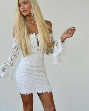 Off the Shoulder Bodycon White Crisscross Club Dress with Bell Sleeves HD3207