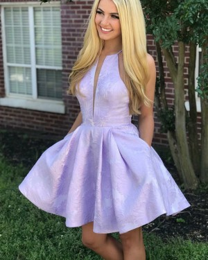 Low V-neck Lavender Lace Homecoming Dress with Pockets HD3212