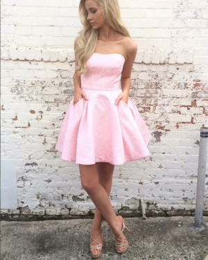 A-line Strapless Pink Lace Short Homecoming Dress with Pockets HD3213