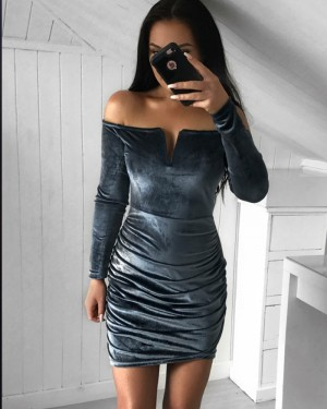 Off the Shoulder Black Velvet Cutout Club Dress with Long Sleeves HD3219