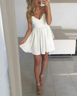 Simple Pleated White V-neck Ruched Satin Homecoming Dress HD3223