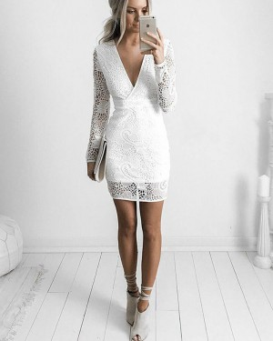 White V-neck Lace Bodycon Graduation Dress with Long Sleeves HD3224