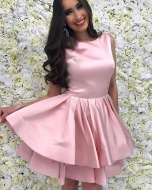Jewel Blush Pink Satin Layered Simple Homecoming Dress HD3227