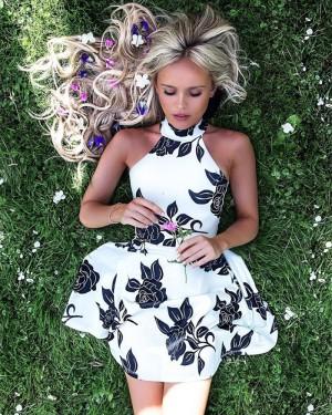 High Neck Floral Print Satin A-line Homecoming Dress HD3229