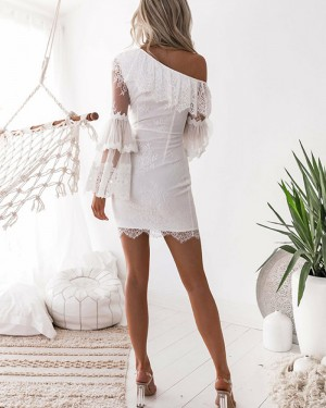 White Lace Asymmetric Tight Homecoming Dress with Long Sleeves HD3230