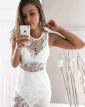 Jewel Neckline Lace Tight Club Dress with Tulip Skirt HD3231