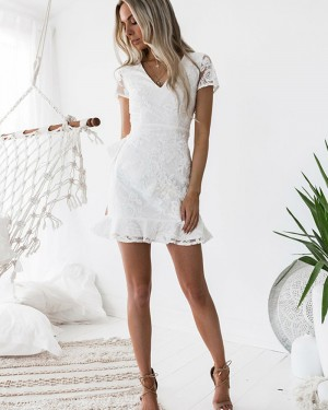 V-neck Lace White Homecoming Dress with Short Sleeves HD3232