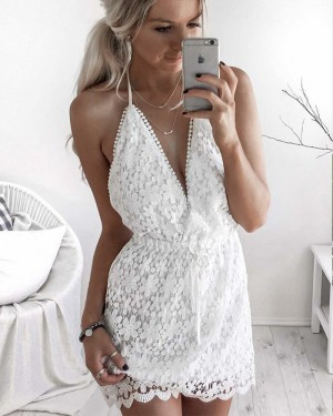 Halter Lace White Short Party Dress with Backless HD3233