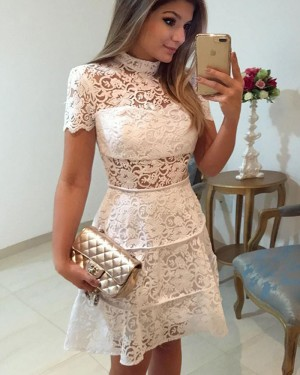 White Lace High Neck A-line Homecoming Dress with Short Sleeves HD3235