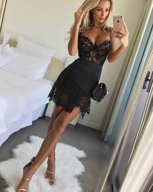 Spaghetti Straps Lace Asymmetric Black Party Dress HD3239