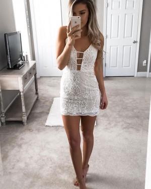 Ivory Spaghetti Straps Cutout Tight Lace Club Dress HD3240