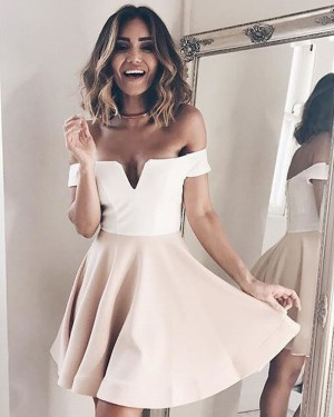 Simple White and Pink Cutout Satin Homecoming Dress HD3242