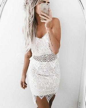 White Spaghetti Straps Tight Lace Homecoming Dress HD3243