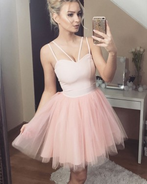 Double Spaghetti Straps Pink Tulle Short Homecoming Dress HD3244