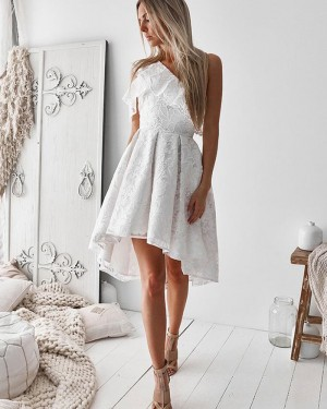High Low White One Shoulder Lace Homecoming Dress HD3253