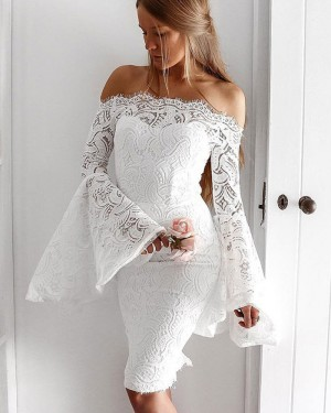 White Lace Knee Length Homecoming Dress with Bell Sleeves HD3254