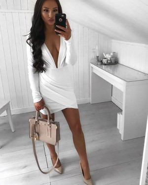 Deep V-neck Ruched White Sheath Party Dress with Long Sleeves HD3258