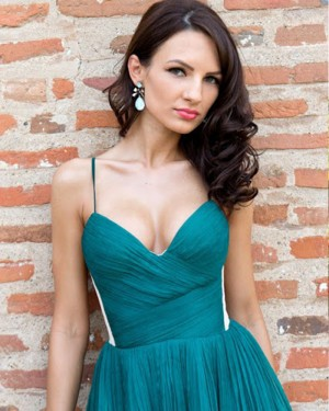 Dark Green Spaghetti Straps Ruched A-line Homecoming Dress HD3264