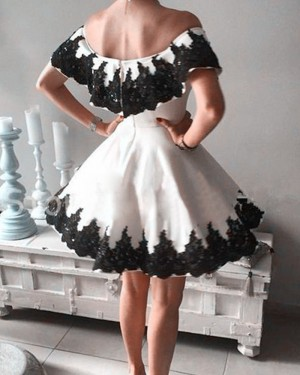 Off the Shoulder Satin Ivory Appliqued Homecoming Dress HD3267