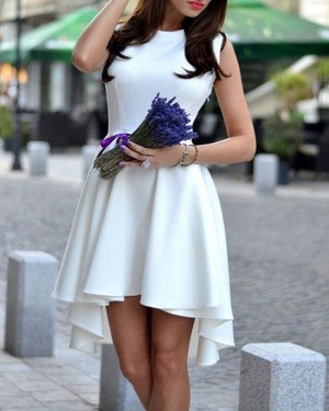 Jewel Neckline White High Low Satin Homecoming Dress HD3268