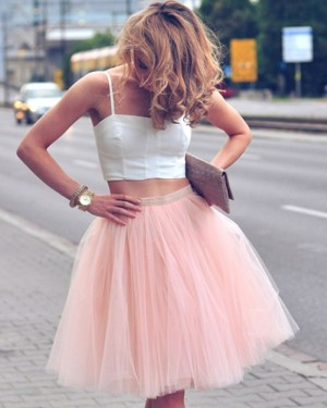 Two Piece Square White and Pink Tulle Party Dress HD3269