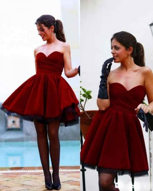 Sweetheart Pleated Red Satin A-line Homecoming Dress HD3270