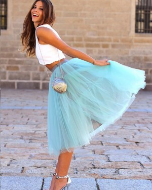Two Piece White and Mint Knee Length Tulle Formal Dress HD3272