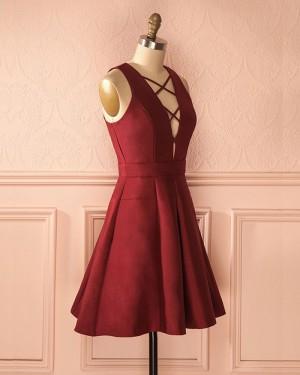 Simple Crisscross Satin Burgundy Short Homecoming Dress HD3274