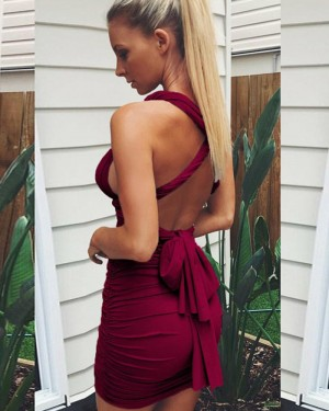 Simple Convertible Burgundy Ruched Bodycon Homecoming Dress HD3276