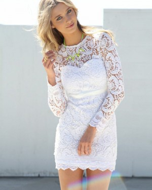 White Jewel Lace Tight Short Homecoming Dress with Long Sleeves HD3279