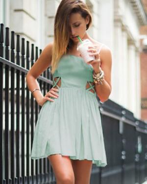 Square Mint Pleated Chiffon Cutout Short Homecoming Dress HD3283