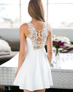 White Satin Cutout Pleated Empire Homecoming Dress HD3284