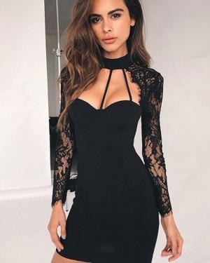 High Neck Black Cutout Tight Club Dress with Long Sleeves HD3285