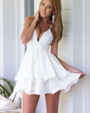 Simple Pleated White V-neck Layered Homecoming Dress HD3287