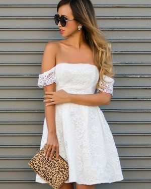 Off the Shoulder White Lace A-line Homecoming Dress HD3288