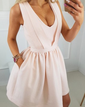 Simple Scoop Neckline Pearl Pink Satin Homecoming Dress with Pockets HD3289