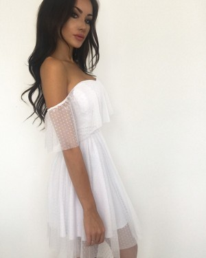 Off the Shoulder Pleated Homecoming Dress with Polka Dot Net HD3290