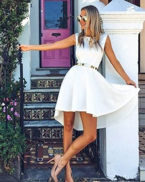 Simple White Jewel Satin A-line Homecoming Dress HD3291