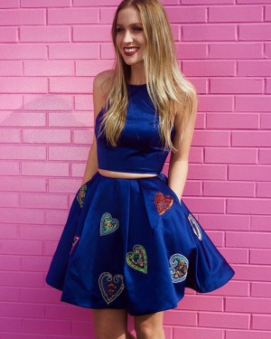 Jewel Neckline Two Piece Blue Appliqued Homecoming Dress with Pockets HD3293