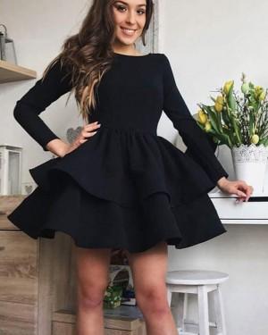 Simple Black Satin Layered Short Homecoming Dress with Long Sleeves HD3294