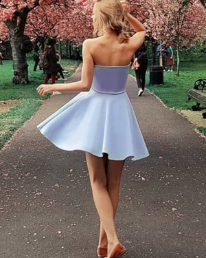 Simple Strapless Light Purple Satin A-line Homecoming Dress with Side Zipper HD3296