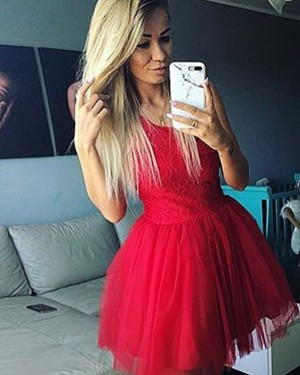 Scoop Neckline Red Lace Bodice Ball Gown Homecoming Dress HD3303