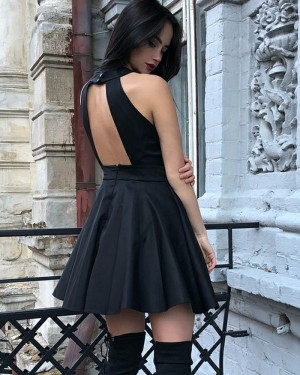 High Neck Pleated Satin Simple Black Homecoming Dress with Open Back HD3305