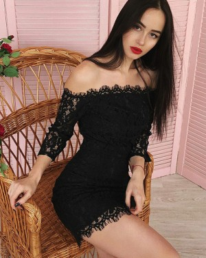 Black Off the Shoulder Bodycon Lace Club Dress with 3/4 Length Sleeves HD3307