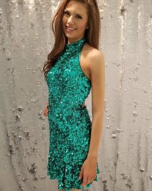 Sleeveless High Neck Sequined Green Club Dress HD3311